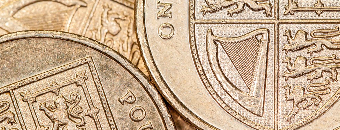 Close up on coins
